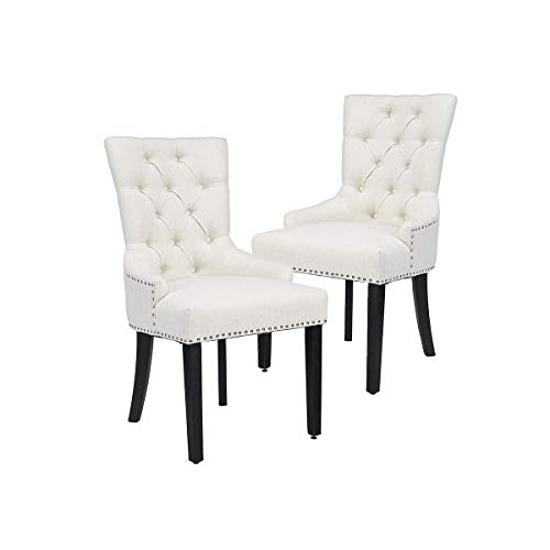 CangLong Modern Elegant Button-Tufted Upholstered Fabric With Nailhead Trim Dining Side Chair for Dining Room Accent Chair for Bedroom, Set of 2, Beige