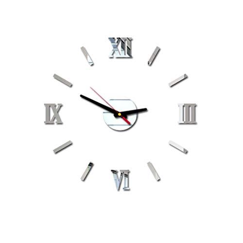 Großer Abverkauf! Evansamp Mode Wanduhr,3D DIY Römische Zahlen Acryl Spiegel Wandaufkleber Uhr Wohnkultur Wandtattoo E(Silver)