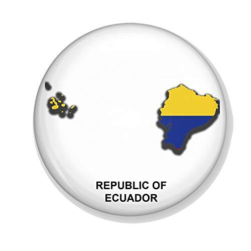 Generic Gifts & Gadgets Co. Kühlschrankmagnet Flagge Ecuador auf Karte 58 mm Bedruckt rund Kühlschrankmagnet
