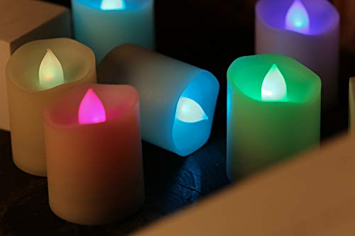 LED Flameless Votive Candles, Colorful Remote Control Flickering Light - Battery Operated Candles for Wedding, Valentine's Day, Christmas, Halloween Decorations (12-Pack)