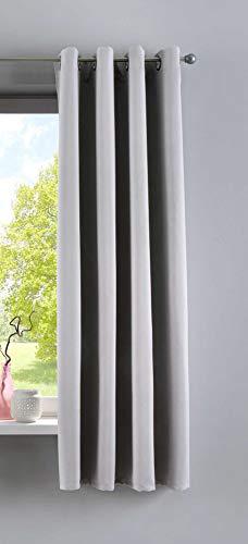Rideau Opaque « Newyork » Gris (H x l) 160 x 140 cm, 1 pièce, Rideau occultant Thermique, avec œillets, insonorisant et Protection UV, 201920600