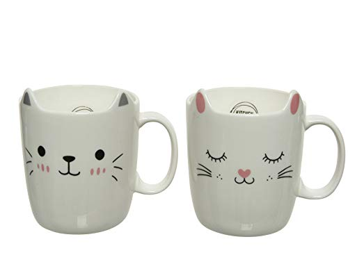 Decoris Tasse Katzen Ohren Porzellan 11cm x 1 Stück Sortiert Kaffeebecher Katzentasse