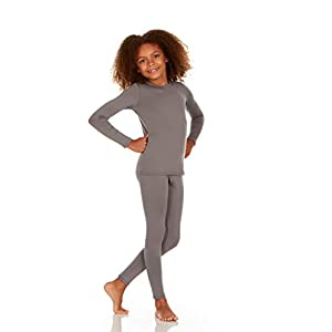 Thermajane Girl's Ultra Soft Thermal Underwear Long Johns Set with Fleece Lined