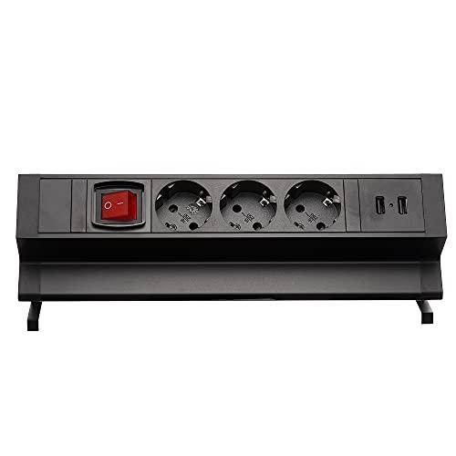 Regleta de 3 enchufes para muebles, 2 puertos USB con interruptor, color negro, para oficina o cocina, enchufe múltiple de 2 m, cable sin dejar residuos, para escritorio