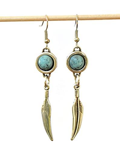 Pendientes hippies turquesa y plata con plumas, pendientes colgantes largos artesanales, joyas originales mujer
