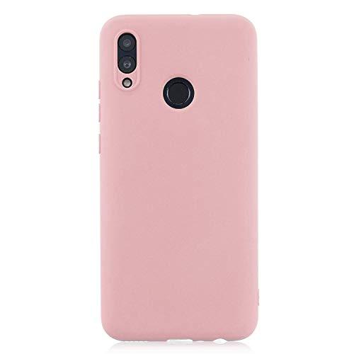 cuzz Funda para Huawei P Smart 2019+{Protector de Pantalla de Vidrio Templado} Carcasa Silicona Suave Gel Rasguño y Resistente Teléfono Móvil Cover-Rosa Claro