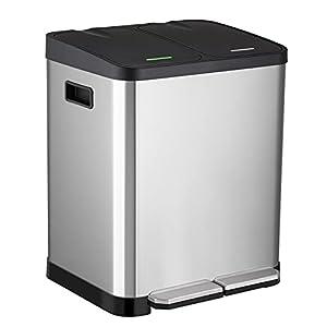 ゴミ箱 ペダルペール ダストボックス 蓋付き ペダル式 2分別 ステンレス製 内側バケツ2個 2×15L 密閉 音無し 防臭 おしゃれ キッチン 室内