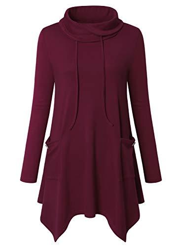 Amrto Damen Bluse Turtleneck Asymmetrische Saum Langarm Tops Lange Hemd Pullover Tunika mit Taschen, Wein M