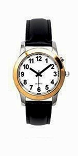 Ladies Deluxe Talking Wrist Watch Two Tone with Black Leather Band