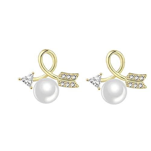 DOUHEN Pendientes de perlas de imitación para mujer, pendientes de aguja de plata lindos pendientes de aguja de tendencia de flecha perla pendiente joyería