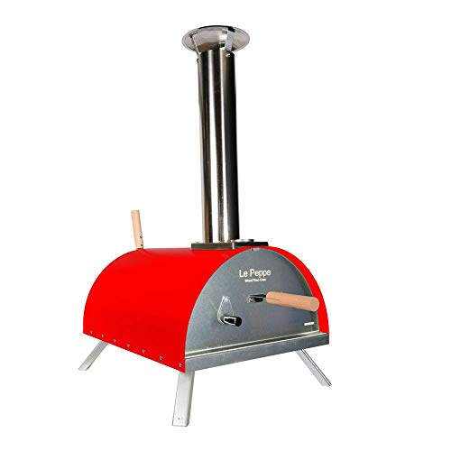 WPPO Le Peppe Multi-Fuel Deluxe Stainless Steel Outdoor Pizza Oven in RED, Wood Fired Portable Oven & BBQ, Built-In Thermometer + FREE Pizza Peel