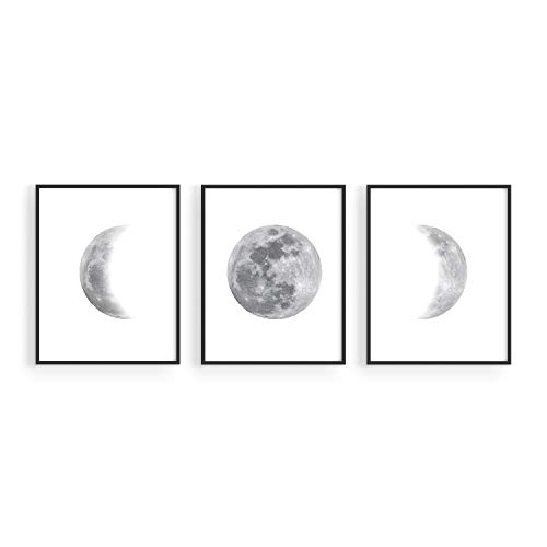 Moon Phases Wall Art for Bedroom - by Haus and Hues   Set of 3 Moon Phases Prints   Stages of the Moon Art Prints Moon Wall Decor   Moon Phases Wall Prints Phases of the Moon 8'x10', UNFRAMED