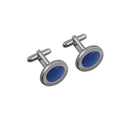 British Jewellery Workshops Boutons de Manchette en Pierre Bleue Ovale plaqué Rhodium 16x21mm