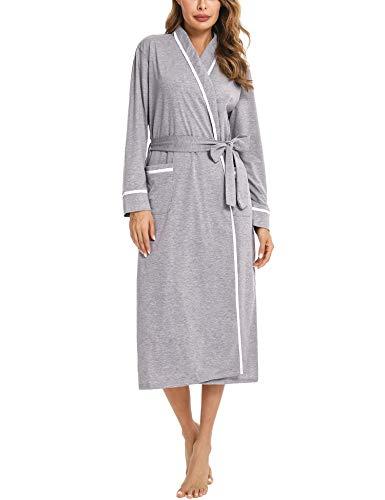 Aibrou Bademantel Damen Baumwolle Morgenmantel Langarm Nachtwäsche V-Ausschnitt Saunamantel Schlafanzug mit 2 Taschen und Gürtel