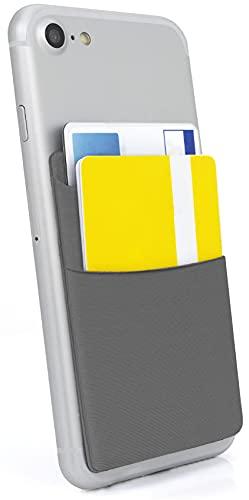MyGadget Phone Card Holder - 2 Tasche per Telefono - Porta Carte di Credito e Tessere con Protezione RFID e NFC - Wallet Adesivo per Smartphone - Grigio