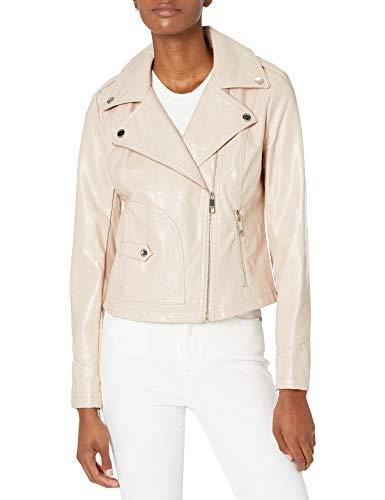 GUESS Women's Ladies Faux Leather Snake Embossed Moto Jacket, Blush, Medium