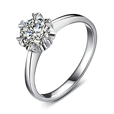 Bishilin Alianza de Boda de Oro Blanco de 18 Quilates para Mujer, Copo de Nieve Anillo con Diamante 0.3ct Anillo de Compromiso de Boda Ajuste Cómodo Oro Blancotamaño: 6,75