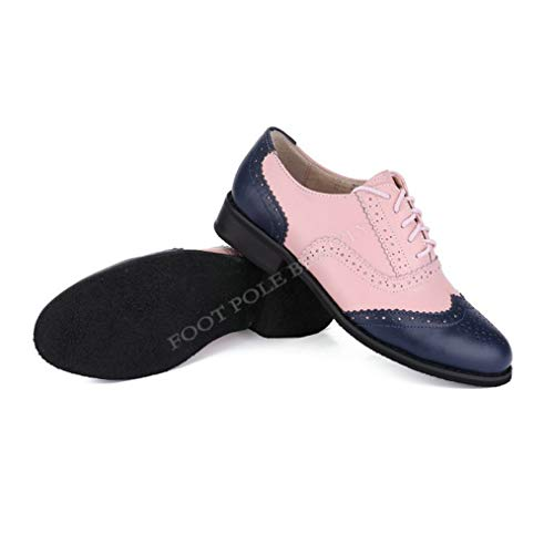 Womens Leather Perforated Lace-up Oxfords Brogue Wingtip Round Toe Saddle Shoes for Ladies Blue Pink