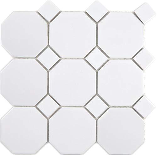 Mosaico de cerámica octa octogonal blanco mate con blanco brillante para pared, suelo, cocina, ducha, baño, azulejos de mosaico, placa de mosaico