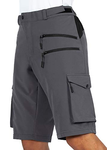 Gouxry Men's MTB Shorts, Quick-Drying Mountain Bike Trousers with 5 Zip Pockets, Breathable, Elastic Cycling Shorts - Grey - XXXL