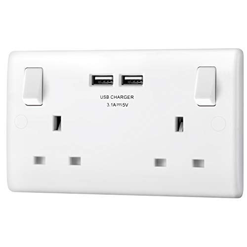 BG Electrical 8223u Double Switched 13 A Fast Charging Power Socket with...