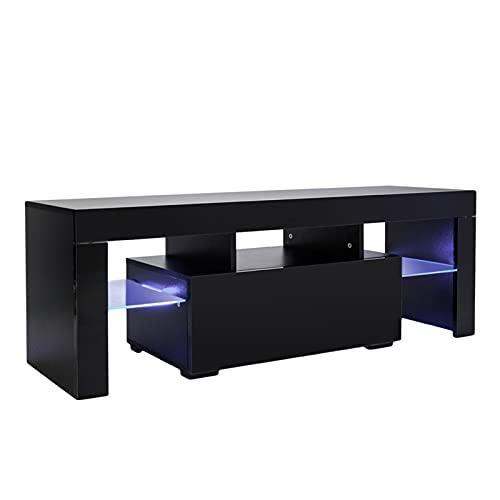 HNWNJ Mueble de TV de pelo recto británico con unidad de luz LED, cajón de almacenamiento y estante, mesa de centro de entretenimiento moderna (negro)