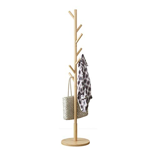 YMJ Wooden Coat Hat Hanger, Coat Rack Freestanding 7 Hooks Freestanding Hallstand Umbrella Stand, Home Office Entryway Storage Display Hall Tree