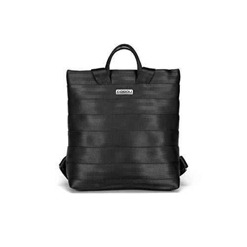 Mochila pequeña con luz interior, de color negro hecha de cinturones de seguridad reciclados