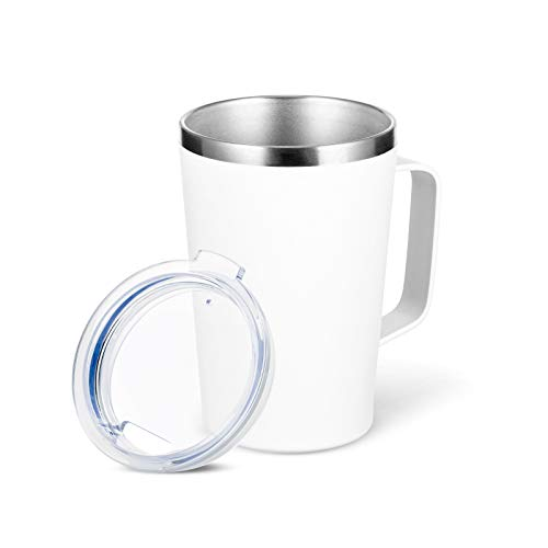 TUMZAK 16oz Stainless Steel Coffee Mug with Handle, Double Wall Insulated Vacuum Travel Mug with Lid, Camping Tea Flask Cup for Hot & Cold Drinks (White, 1 Pack)
