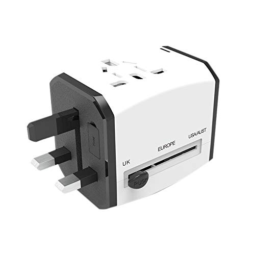TOOGOO Adaptador de Cargador de Viaje Internacional de Toma de Corriente Mundial Universal Convertir Enchufe de Toma de Corriente con USB Type-C para Ipone12