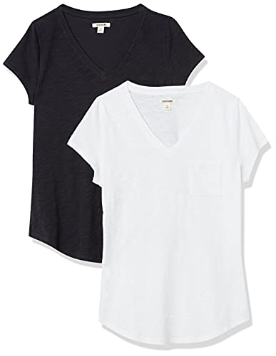 Goodthreads T-Shirt Vintage in Cotone con Scollo a V Fashion-t-Shirts, Bianco/Nero, US XXL (EU 3XL-4XL)