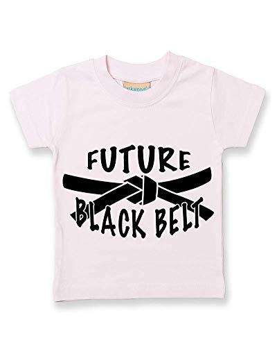 Ice-Tees Future T-shirt en coton doux avec ceinture noire - Rose - 2-3 ans