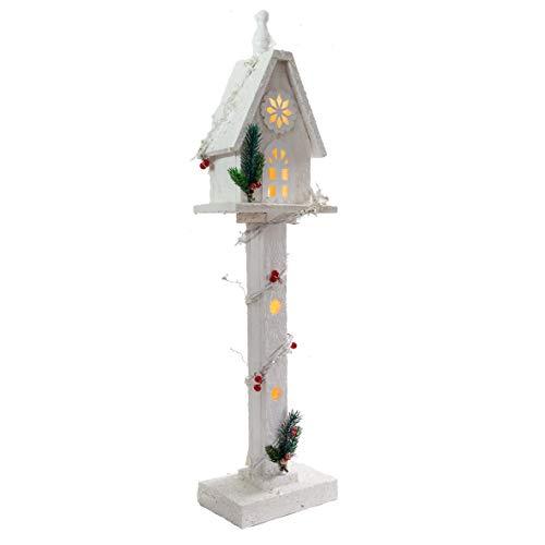 The Christmas Workshop 70099 - Casa per albero in legno, con 5 LED caldi, alimentati a batteria, 70 x 17 x 11 cm, in legno, 70 cm x 70 cm