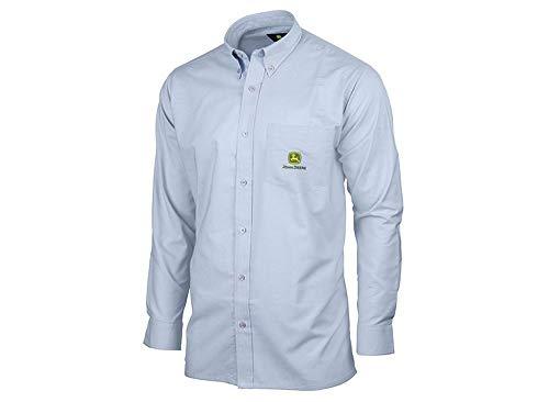 John Deere Herren Langarm Hemd Button-Down-Kragen (16.5, Hellblau)