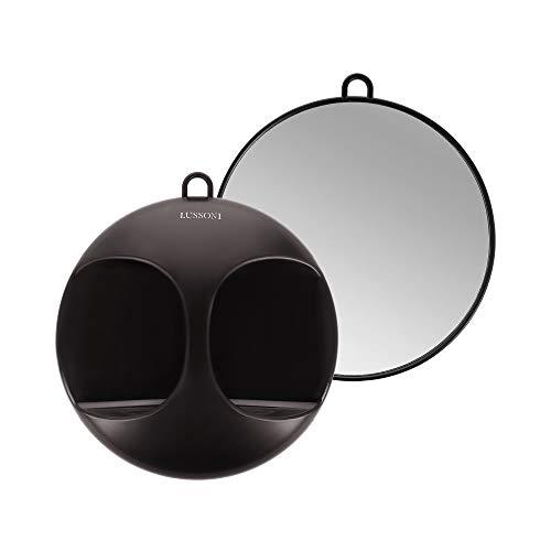 T4B LUSSONI Espejo redondo para salones de belleza, peluqueros, barberos y maquilladores, para cortar, afeitar y peinar, negro, práctico, para llevar o colgar, cómodo y ligero, diámetro de 29 cm
