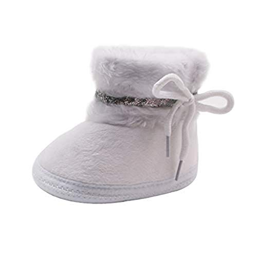 Baby Girl Boy Walking Warm Furry Snow Boots Slippers Toddlers Winter Cotton Shoes Infant Soft Nonslip Strappy Fur Boots White