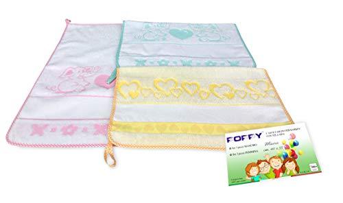 SET 3 ASCIUGAMANI ASILO bambina POPPY © cm. 40x55 puro cotone FEMMINA con tela AIDA da ricamare