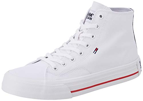 Tommy Hilfiger Classic Mid Tommy Jeans Sneaker, Zapatillas Altas Hombre, Blanco (White Ybs), 44 EU