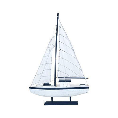 CAPRILO. Figura Decorativa de Madera Barco Velero Blanco-Azul. Adornos y Esculturas. Decoración Marinera. Hogar. Regalos Originales. 53 x 35 x 8 cm.