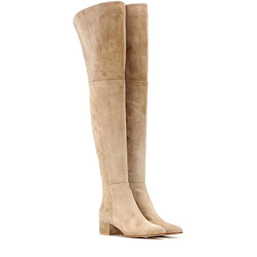 Yiyu Die Frauen Kniehohe Stiefel,Großes Einfarbiges Gefrostetes Material Braun Vollständig Umschlossen Damen-Herbst-Winter Stiefel Fashion New Over x (Color : Beige, Size : 40)