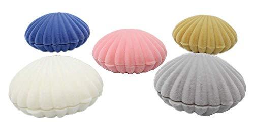 XICHEN 5 STKS Shell sieraden dozen Flocked Oorbel Geschenkdoos Sieraden Display, roze, blauw, abrikoos geel, grijs, wit