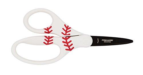 Fiskars 5 inch MVP Non-Stick Kids Scissors Pointed-Tip, Baseball (134302-1003)