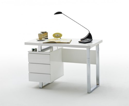Dreams4Home Schreibtisch mit Schubkasten, Tanja MDF Hochglanz, Container, Bürotisch, Tisch, PC Tisch, weiß