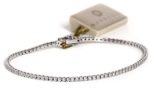 BRACCIALE TENNIS'NARDELLI' REF.164VS oro bianco e diamanti naturali con certificato 0,50kt G color VS, affare, 18cm!!!