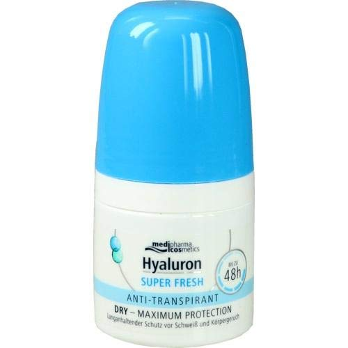 Hyaluron Super fresh Anti-Transpirant Deo Roller von Medipharma DRY - MAXIMUM PROTECTION | Bis zu 48 h 50ml