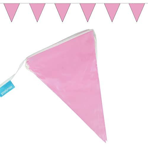 Goodymax® Wimpelkette 10 m Rosa - viele weitere Farben & Farbkombinationen zur Auswahl