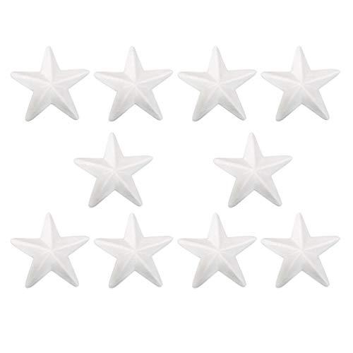 Amosfun 10 Pezzi polistirolo espanso polistirolo espanso a Forma di Stella Palline in Schiuma Natalizia Ornamenti Artigianali Fai da Te 15 cm