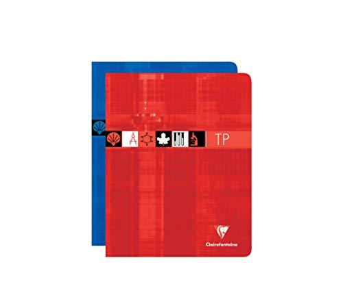 Clairefontaine 37227AMZC - Un lot de 2 cahiers de travaux pratiques 80 pages 17x22 cm grands carreaux 90g et unies 125g, couvertures carte pelliculée assorties aléatoires