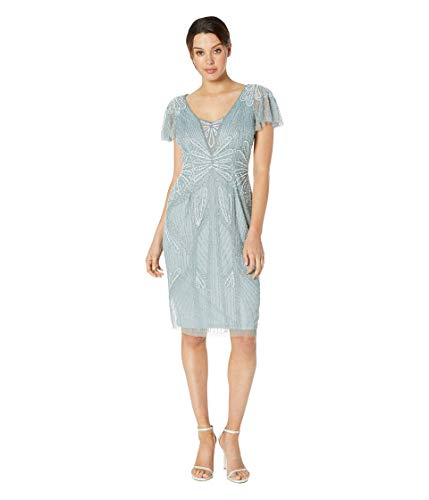 Adrianna Papell Embellished V-Neck Flutter Sleeve Cocktail Dress Horizon 10 Nevada
