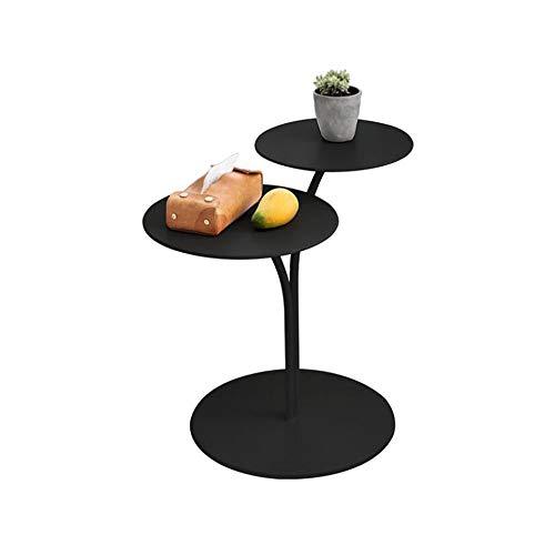 Jcnfa-Tables Table De Bout De Canapé De Salon, Table Basse Ronde, Conception De Comptoir Double, Soudage des Métaux , Blanc/Noir (Color : Black, Size : 15.74 * 15.74 * 21.65in)